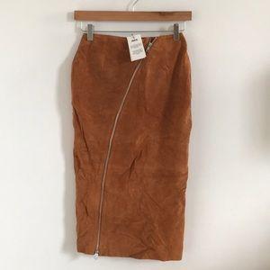ASOS brown suede pencil skirt